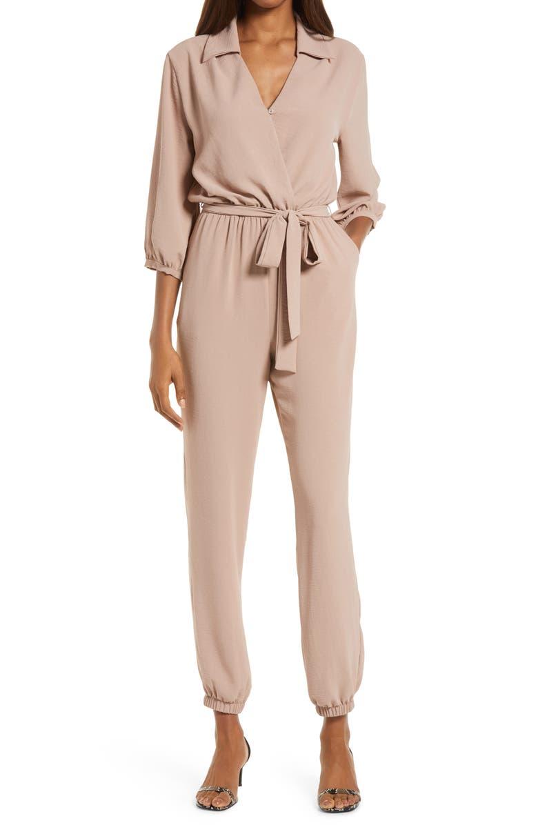 FRAICHE BY J Tie Waist Long Sleeve Jumpsuit, Main, color, BEIGE/ KHAKI