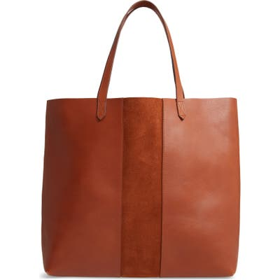 Madewell Suede Stripe Transport Leather Tote - Brown