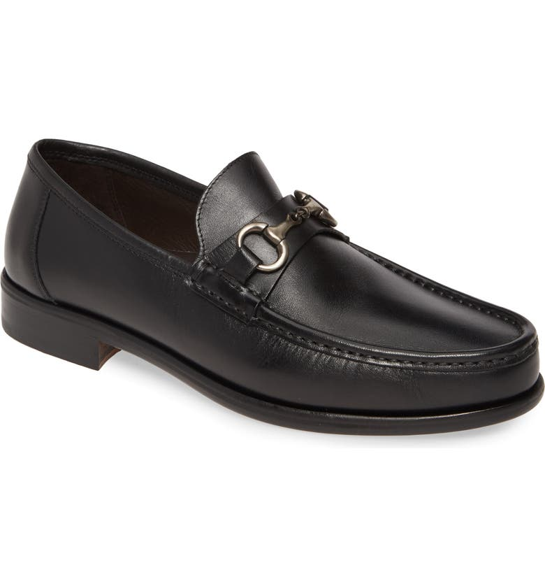JOHNSTON & MURPHY Neilson Bit Loafer, Main, color, BLACK LEATHER