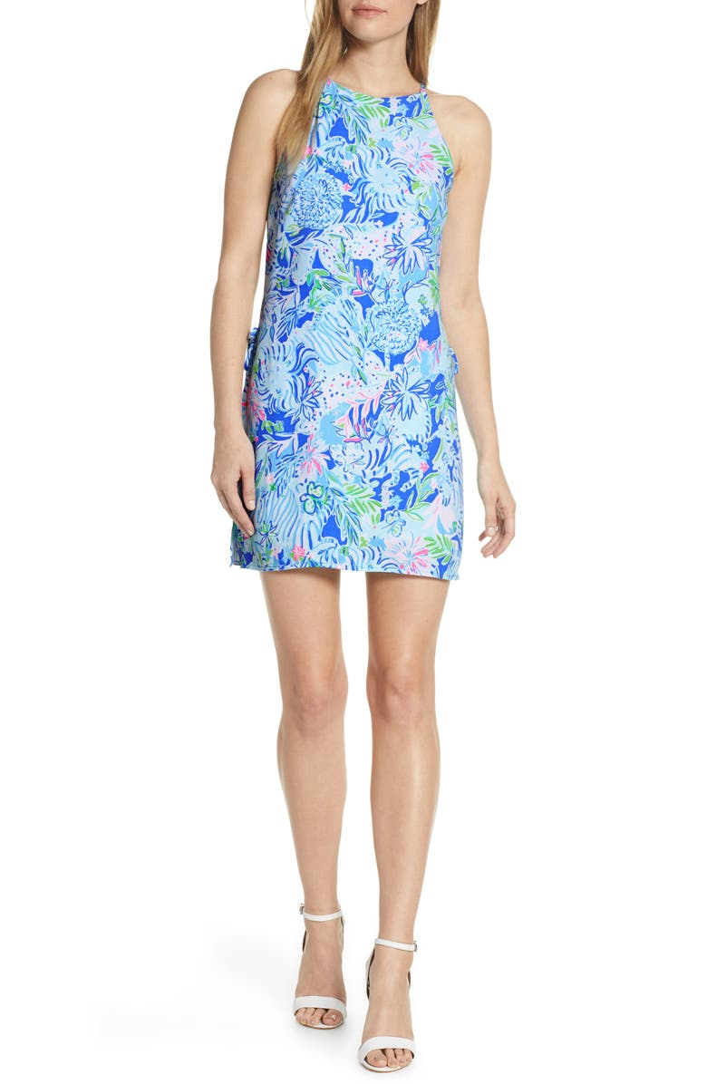 LILLY PULITZER<SUP>®</SUP> Floral Print Romper, Main, color, COASTAL BLUE LION AROUND