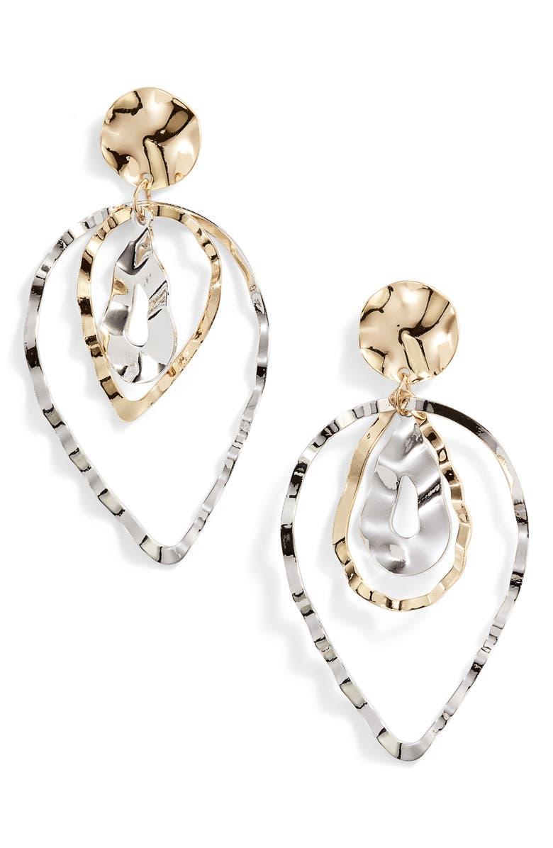 TEN79LA Triple Layer Teardrop Earrings, Main, color, 710