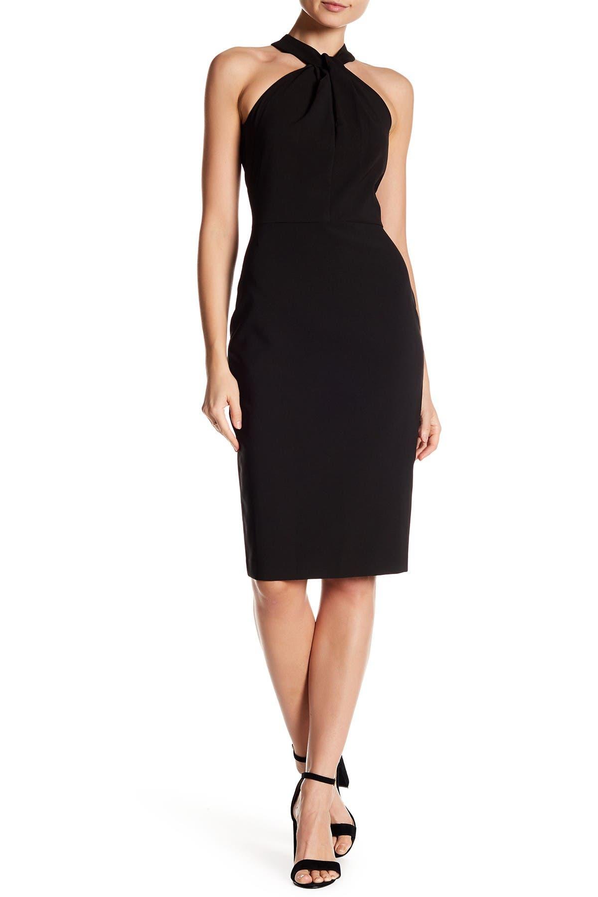 Image of Taylor Twist Neck Crepe Halter Dress