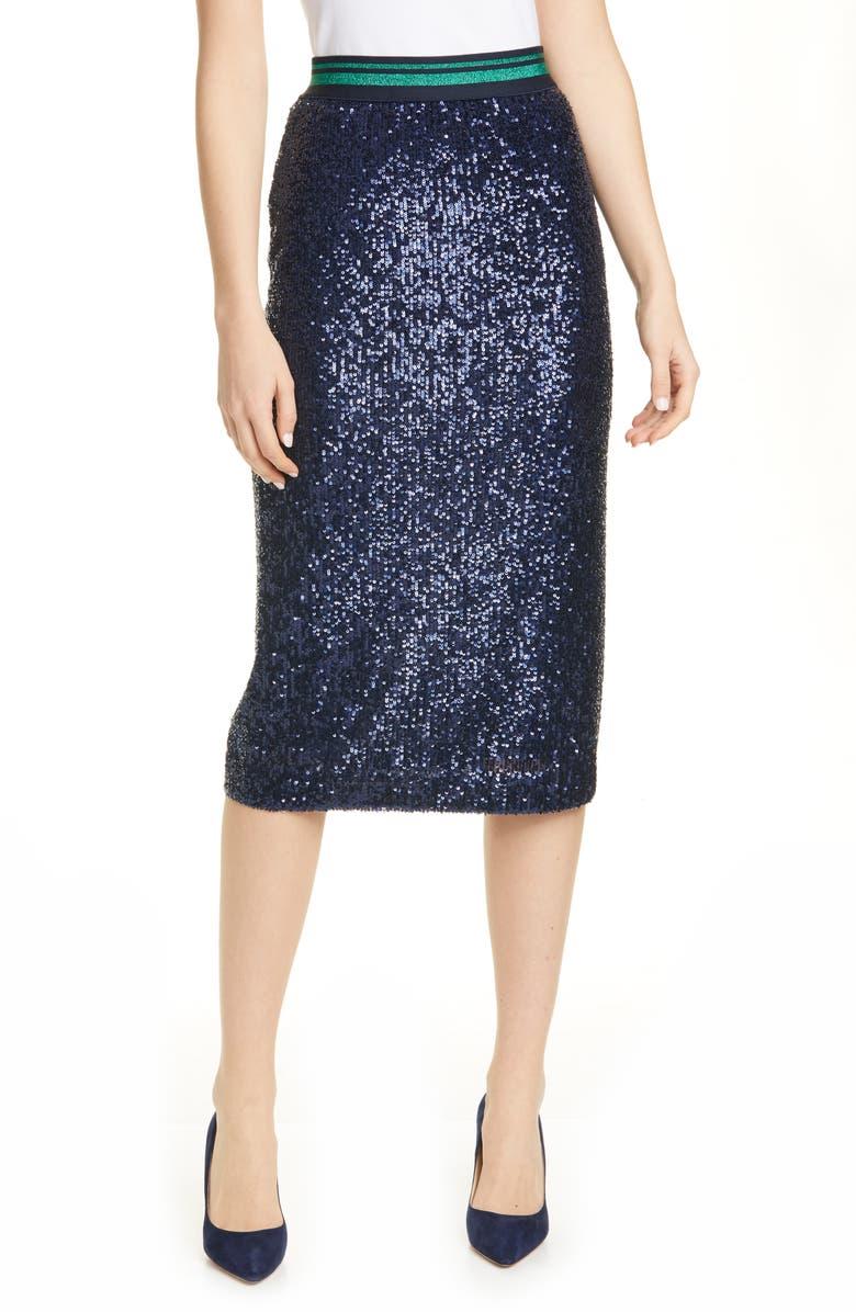 TED BAKER LONDON Sequin Pencil Skirt, Main, color, DK-BLUE