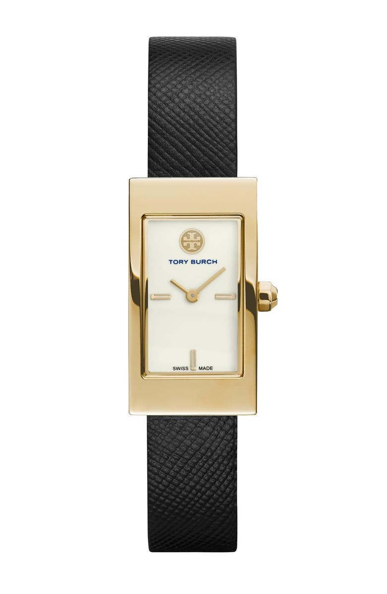 TORY BURCH 'Buddy Signature' Rectangular Leather Strap Watch, 17mm x 31mm, Main, color, 001