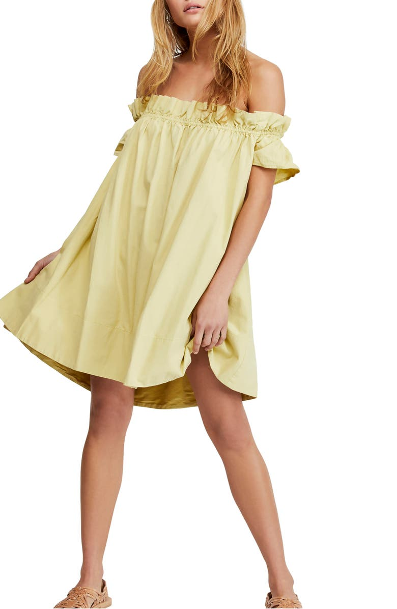 FREE PEOPLE Sophie Off the Shoulder Minidress, Main, color, CHARTREUSE