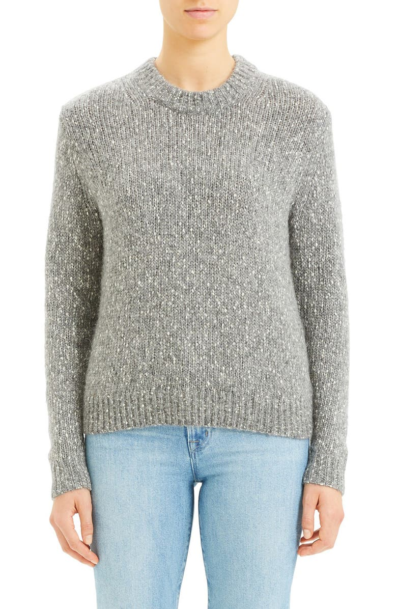 THEORY Speckled Tweed Cotton, Wool & Alpaca Sweater, Main, color, 030