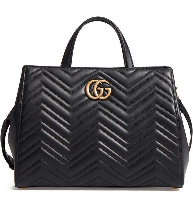 d22dde1e Gucci GG Marmont Medium Matelassé Leather Top Handle Shoulder Bag ...
