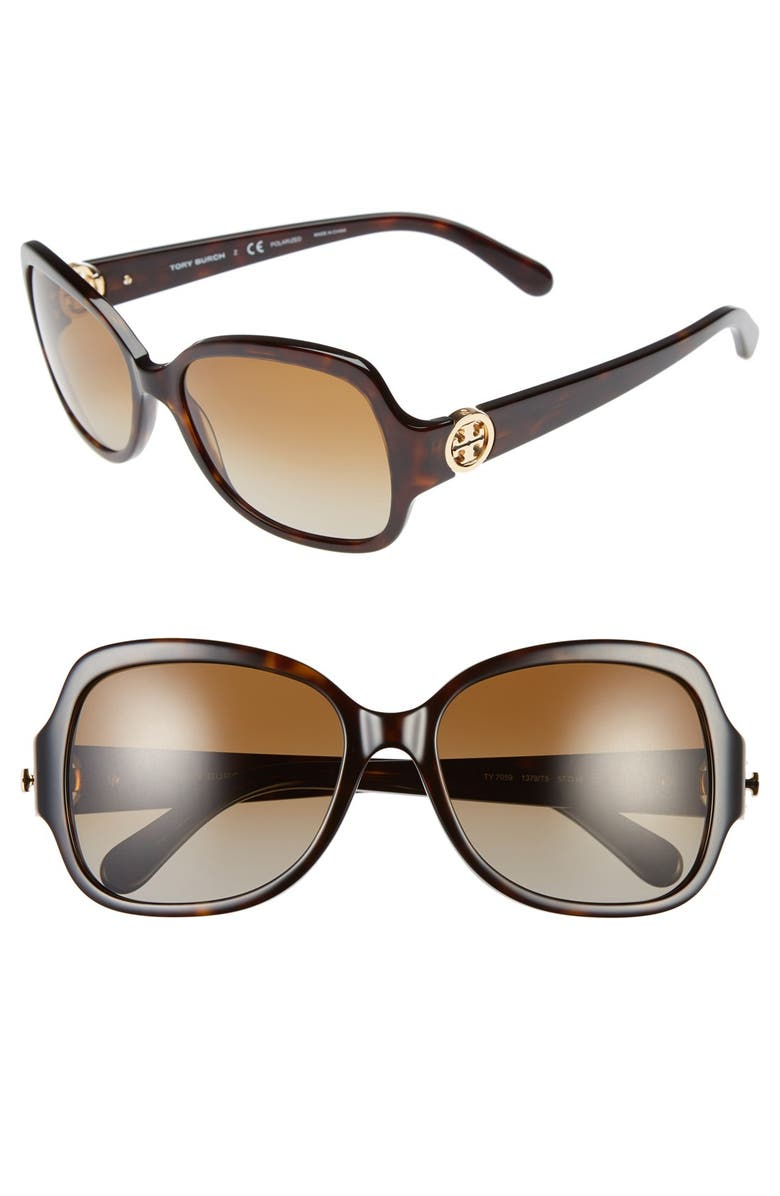 TORY BURCH 57mm Polarized Butterfly Sunglasses, Main, color, 200