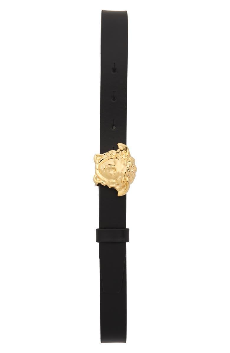 VERSACE Medusa Buckle Leather Belt, Main, color, BLACK