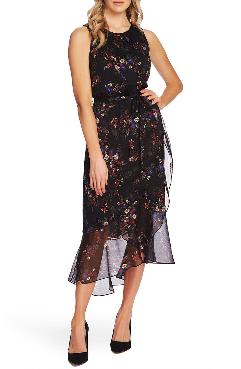 VINCE CAMUTO Floral Belted Ruffle Chiffon Dress, Main, color, RICH BLACK