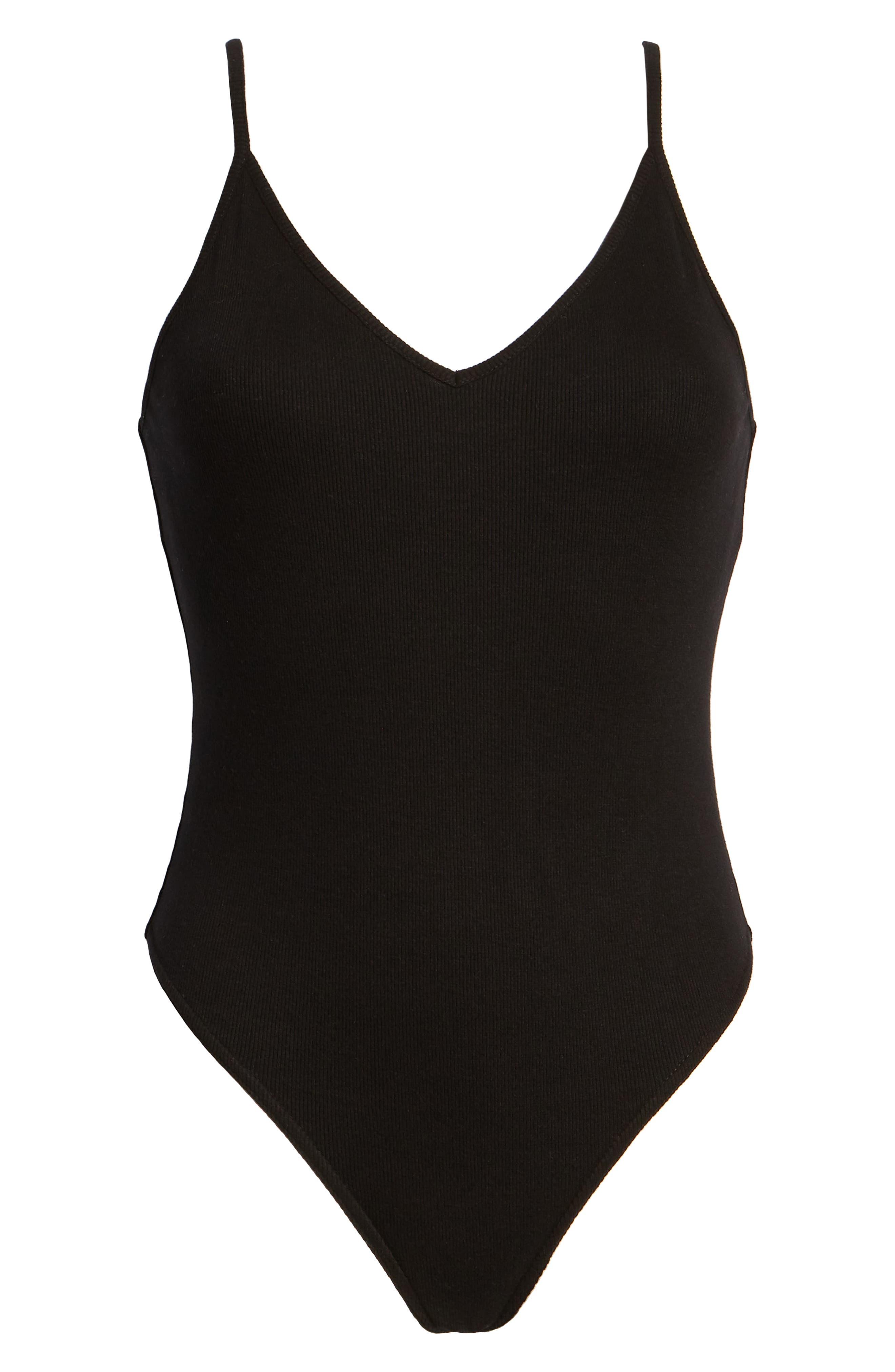 ,                             Rib Knit Bodysuit,                             Alternate thumbnail 6, color,                             BLACK