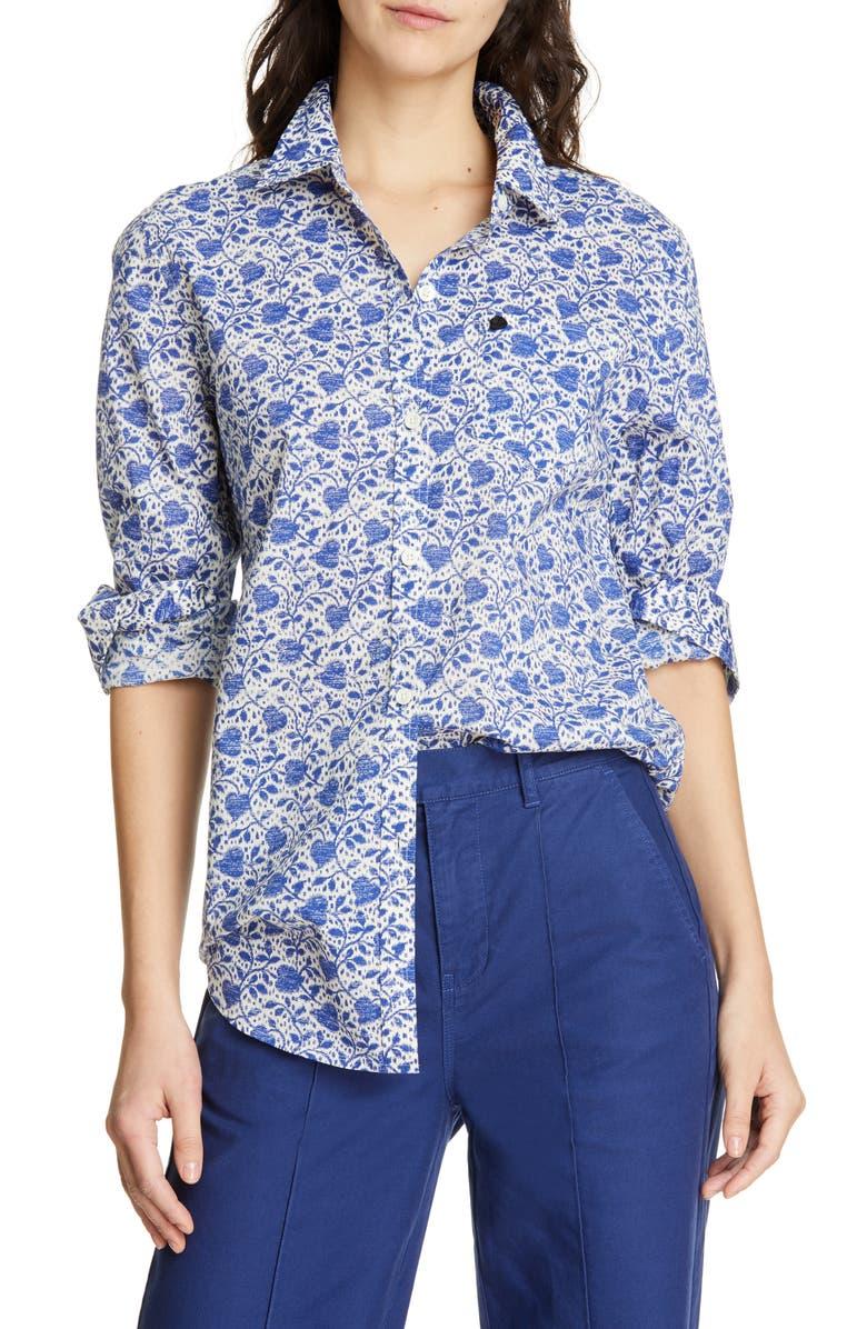 ALEX MILL Standard Ikat Heart Button Front Shirt, Main, color, 400