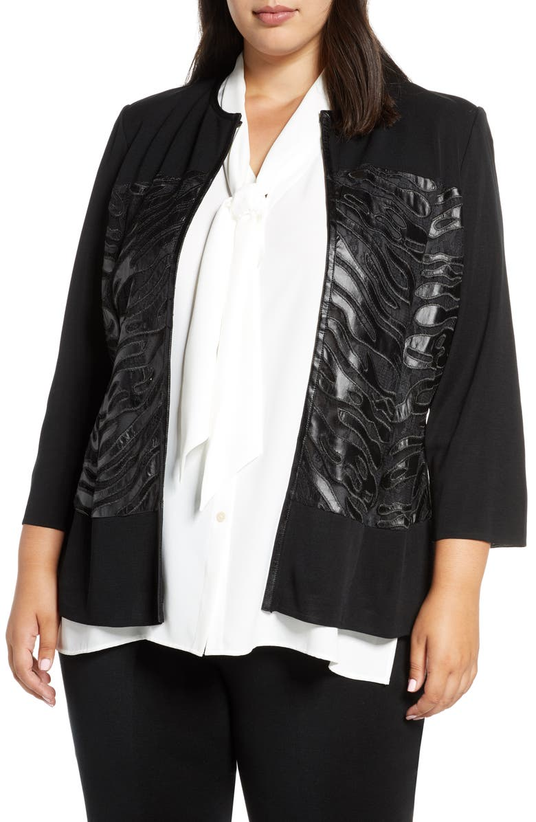 MING WANG Faux Leather Knit Jacket, Main, color, BLACK