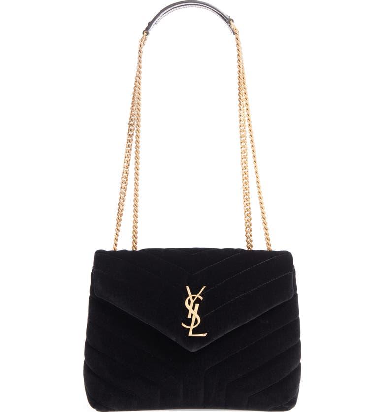 SAINT LAURENT Small Loulou Velvet Shoulder Bag, Main, color, 001