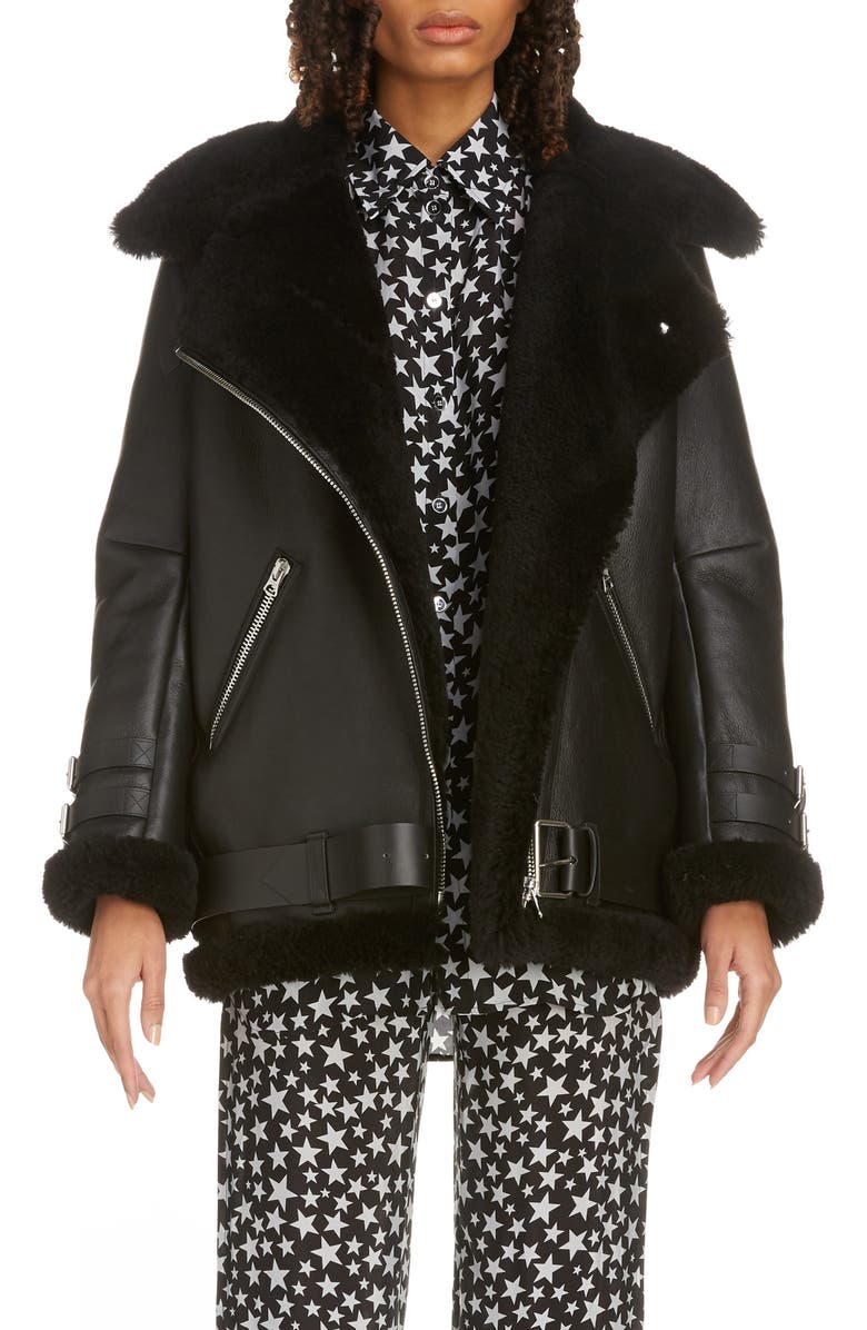 ACNE STUDIOS Velocite Genuine Shearling Moto Jacket, Main, color, BLACK/ BLACK