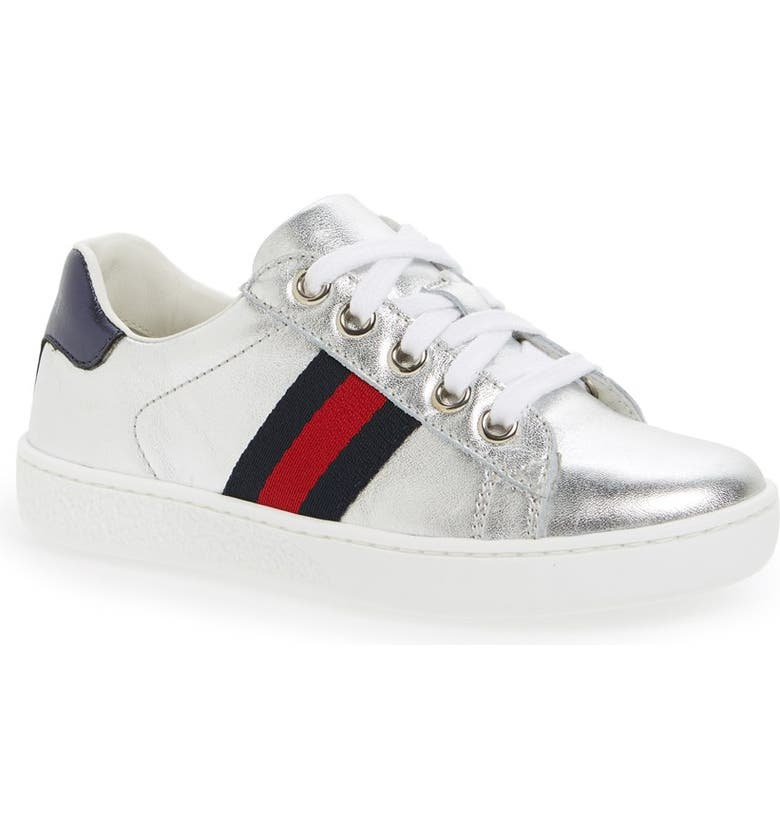 GUCCI 'Ace' Sneaker, Main, color, SILVER/ BLUE