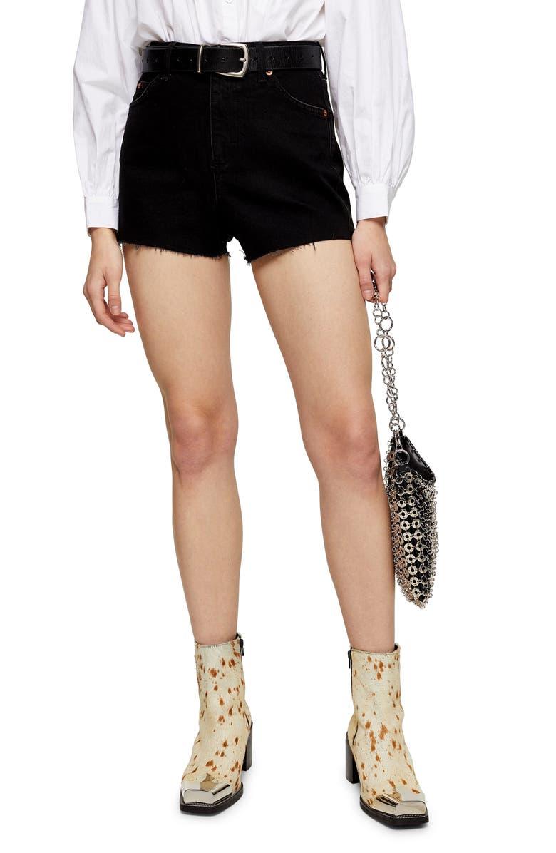 TOPSHOP Premium Denim Mom Shorts, Main, color, 001