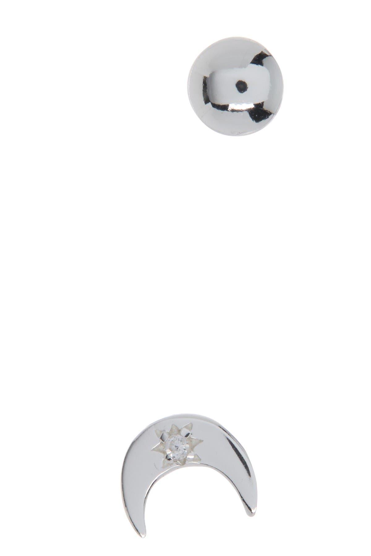 Image of Argento Vivo Crescent Moon & Ball Stud Earrings Set
