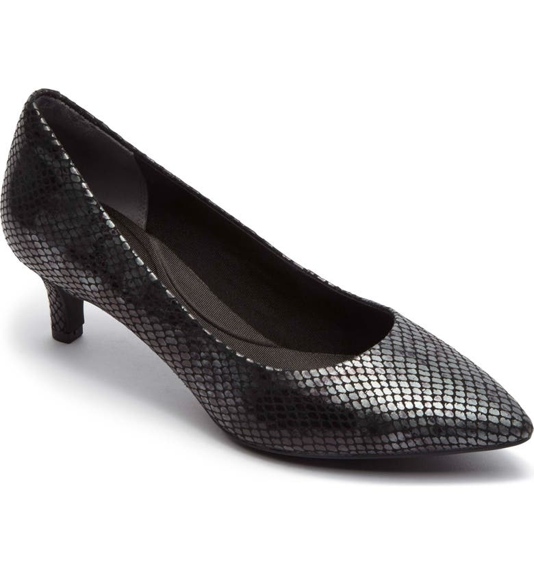 ROCKPORT Kalila Luxe Pump, Main, color, BLACK BOA SNAKE PATENT LEATHER