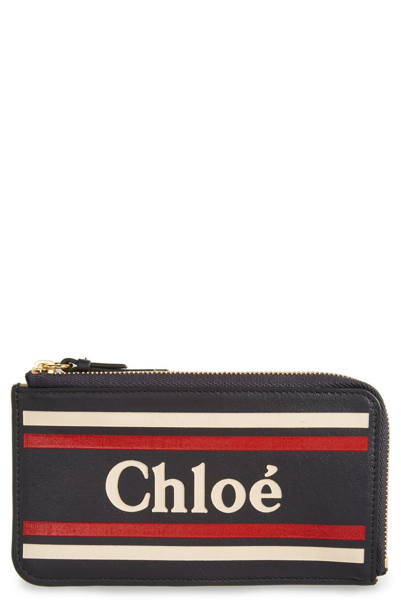 CHLOÉ Vick Leather Card Holder, Main, color, FULL BLUE