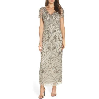 Pisarro Nights Beaded Longline Gown, Metallic