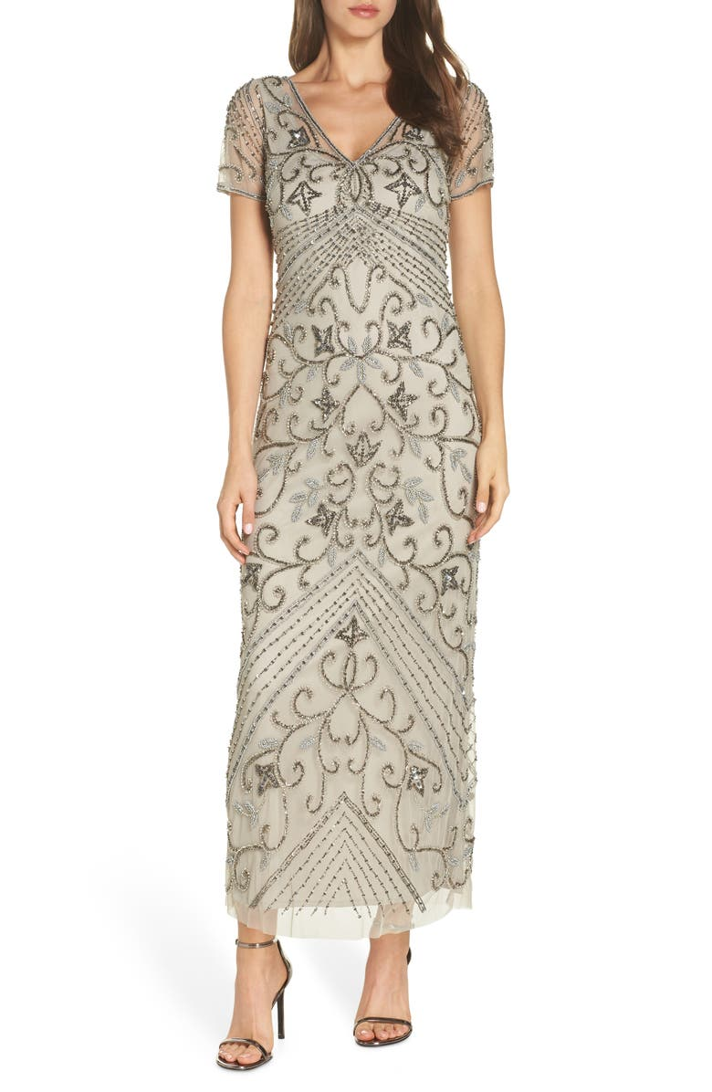PISARRO NIGHTS Beaded Longline Gown, Main, color, SILVER