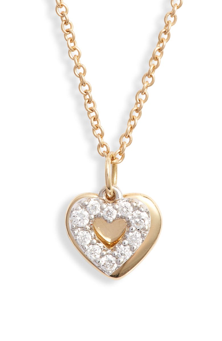 BONY LEVY Icons Gold & Diamond Heart Pendant Necklace, Main, color, WHITE GOLD/ DIA