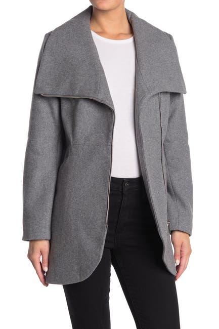 Image of French Connection Tulip Hem Asymmetrical Hem Wool Blend Coat