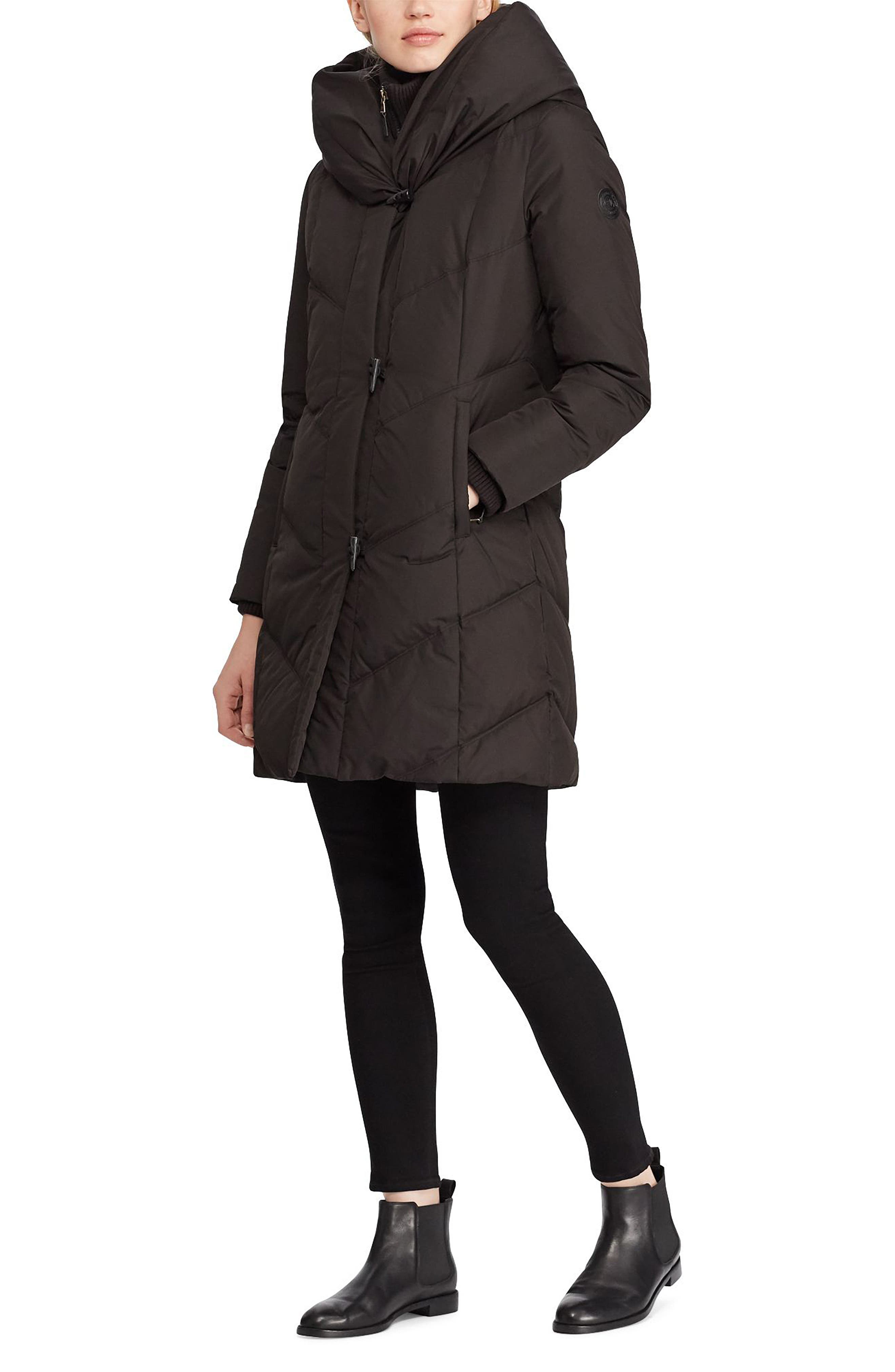 ,                             Pillow Hood Quilted Coat,                             Alternate thumbnail 3, color,                             001