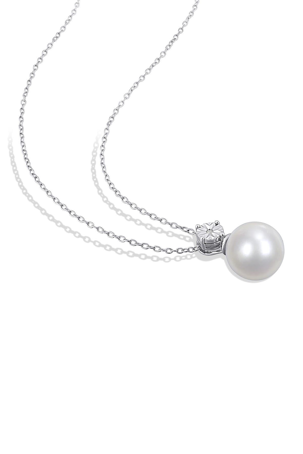 Image of Delmar Sterling Silver 11-12mm Freshwater Pearl & Diamond Accent Pendant Necklace