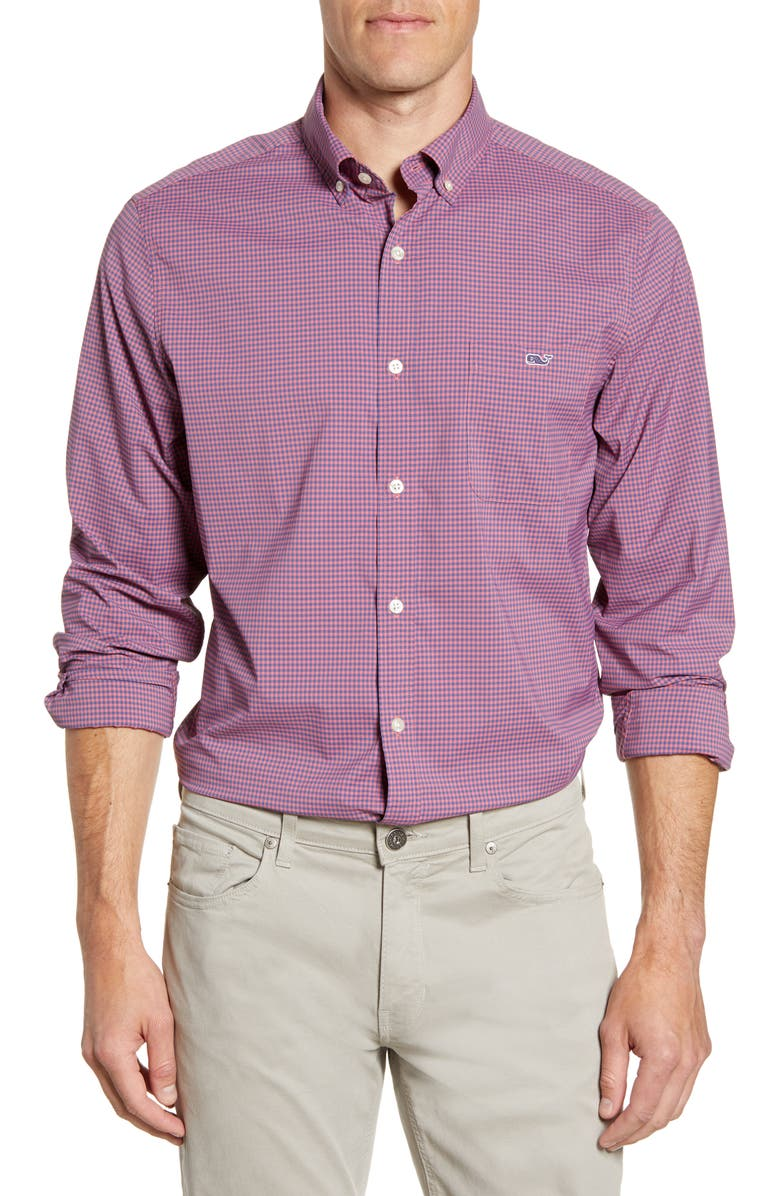 VINEYARD VINES Tucker Classic Fit Check Button-Down Performance Shirt, Main, color, MARINER