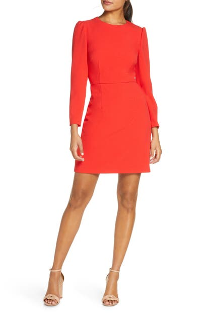Eliza J Long Sleeeve Bow Back Party Dress In Red