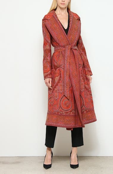 Belted Paisley Jacquard Wrap Coat, video thumbnail