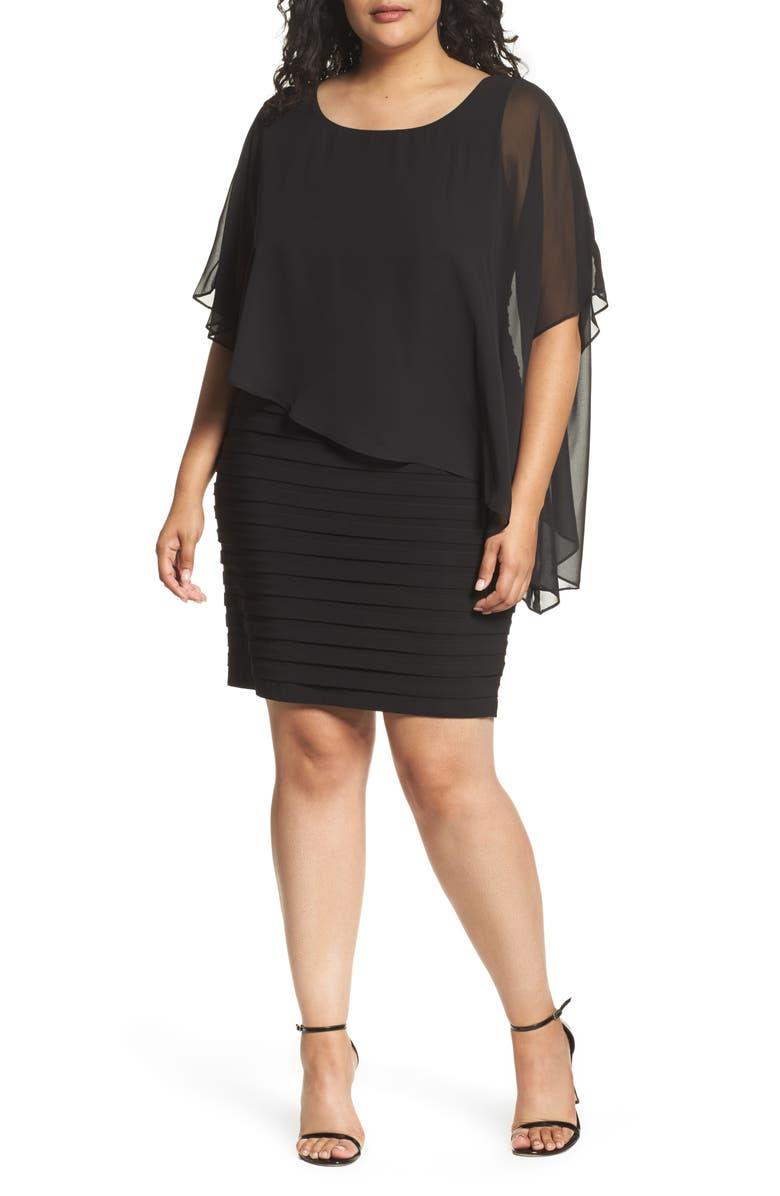 ADRIANNA PAPELL Chiffon Overlay Shutter Pleat Sheath Dress, Main, color, 001