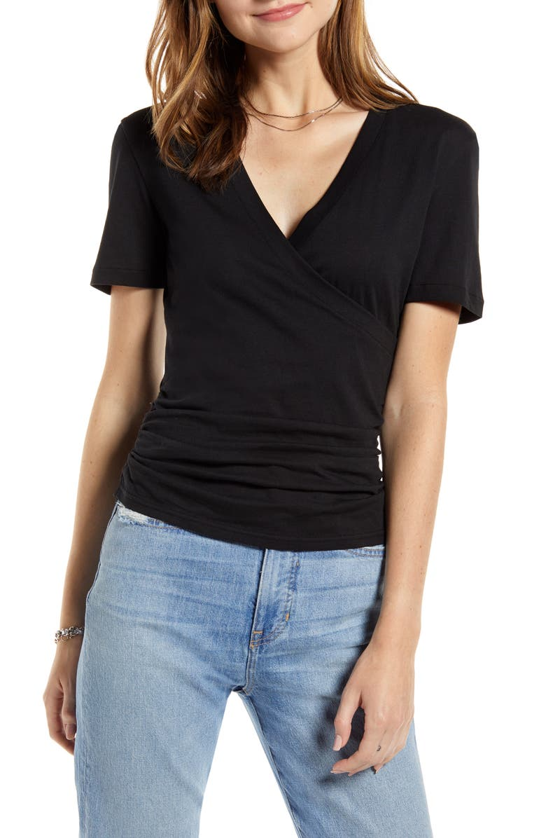 SOMETHING NAVY Surplice Neck Tee, Main, color, 001