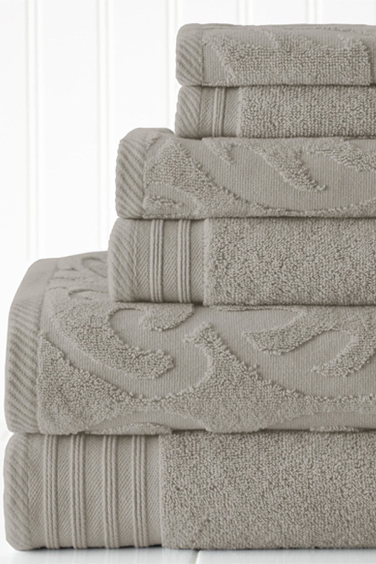 Image of Modern Threads Jacquard Medallion Swirl Solid 6-Piece Towel Set - Platinum