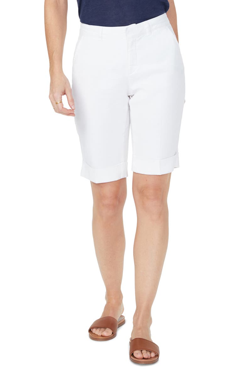 NYDJ Stretch Linen Blend Bermuda Shorts, Main, color, OPTIC WHITE