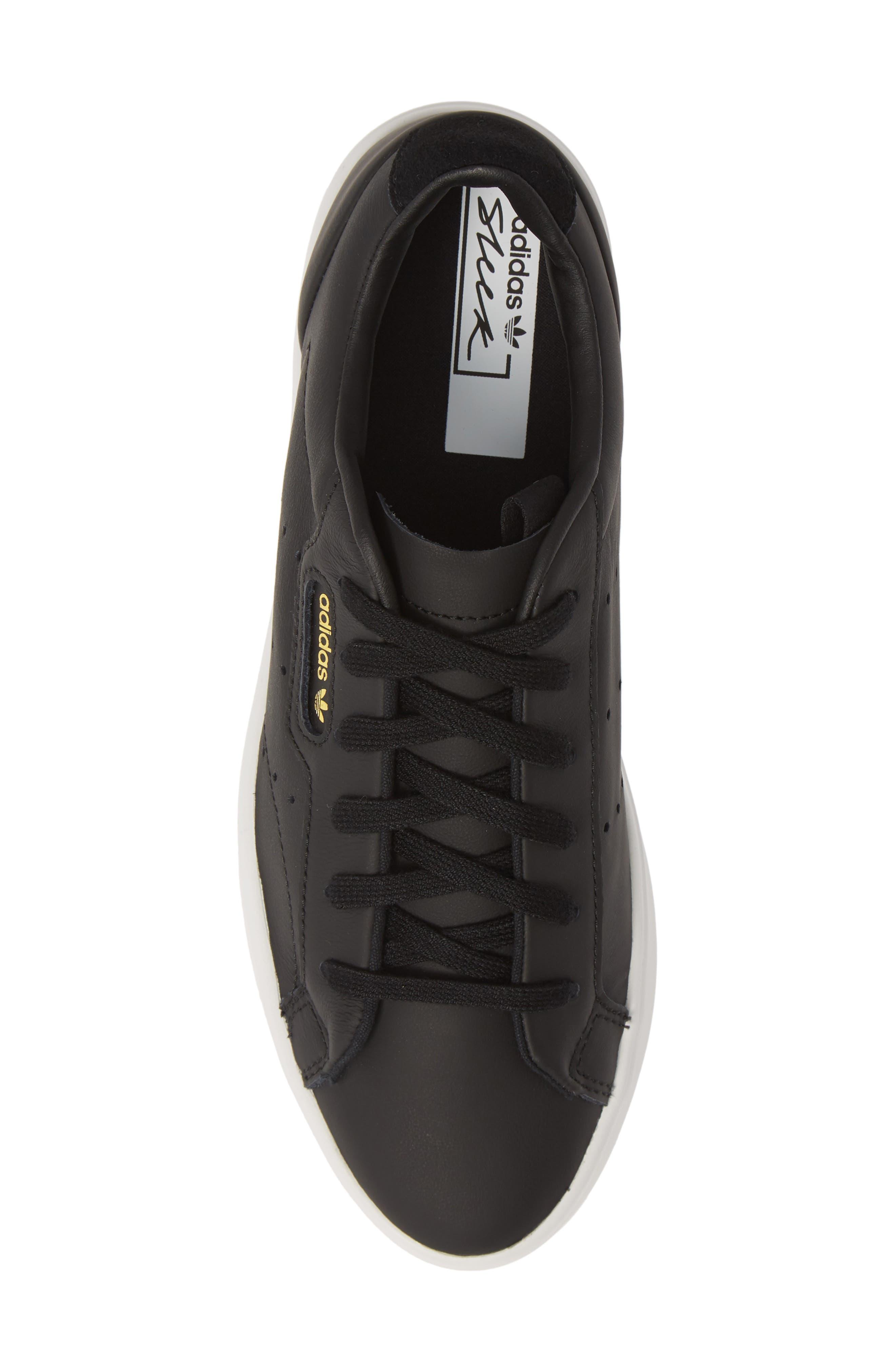 ,                             Sleek Leather Sneaker,                             Alternate thumbnail 5, color,                             CORE BLACK/ CRYSTAL WHITE