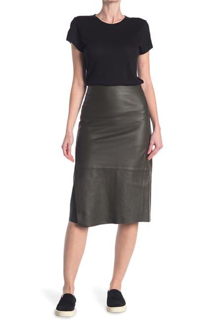 Image of Vince Slit Leather Skirt