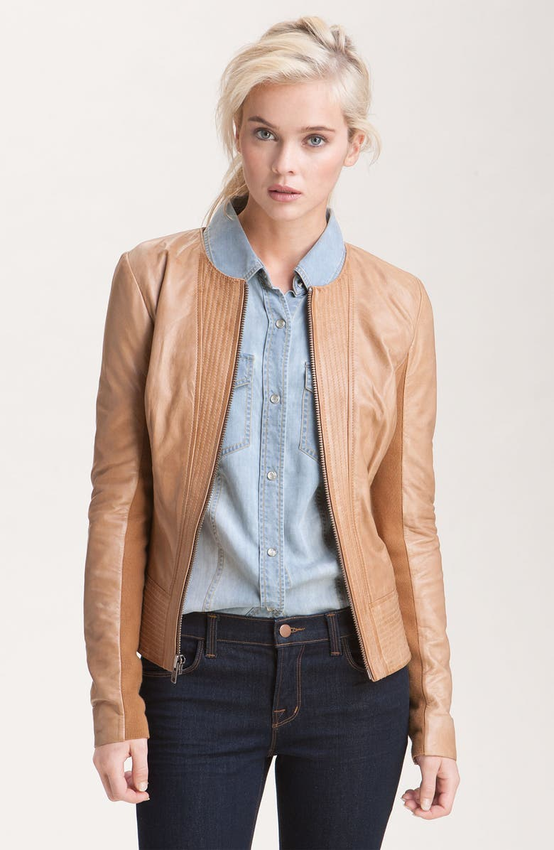 TROUVÉ Channel Quilted Leather Jacket, Main, color, 250