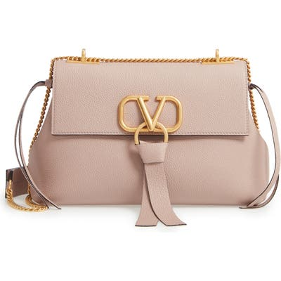 Valentino Garavani Small V-Ring Leather Shoulder Bag - Beige
