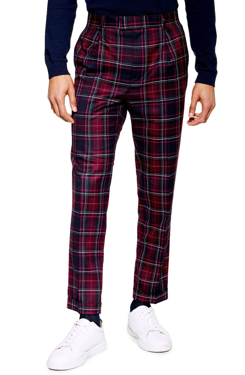 TOPMAN Skinny Fit Check Trousers, Main, color, 930