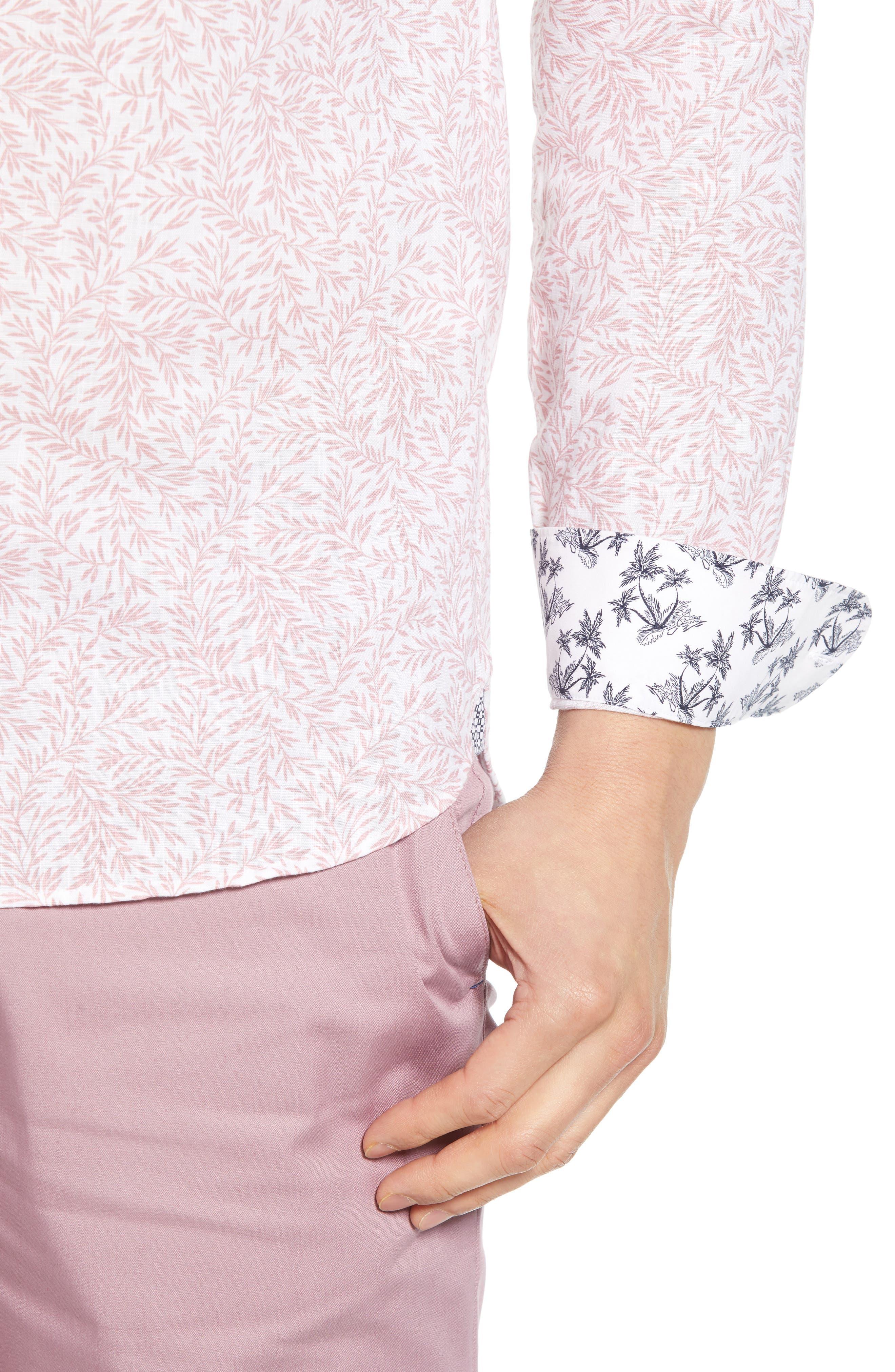 ,                             Leemar Slim Fit Floral Sport Shirt,                             Alternate thumbnail 2, color,                             PINK