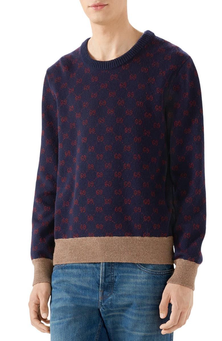 GUCCI GG Wool Sweater, Main, color, INK/ BORDEAUX