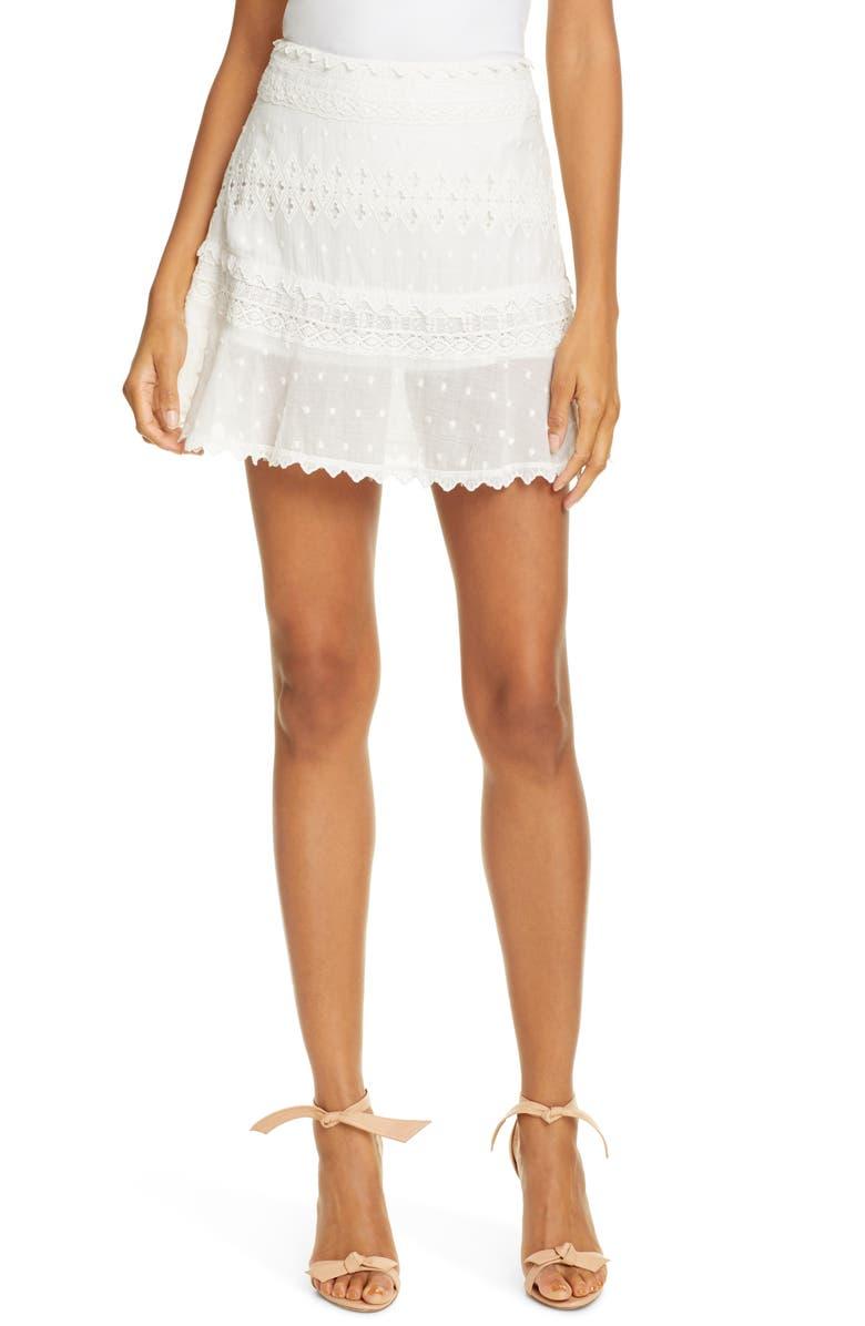 LOVE SAM Embroidered Miniskirt, Main, color, IVORY