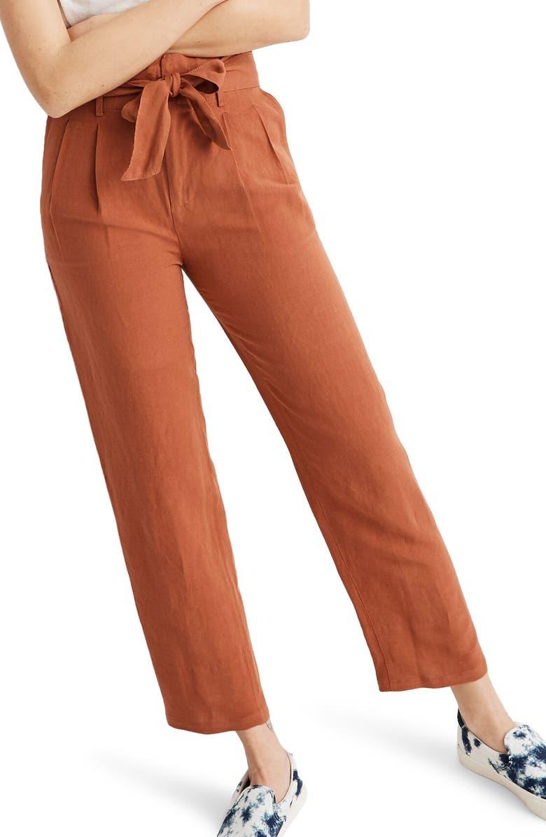MADEWELL Linen Blend Paperbag Pants, Main, color, 600