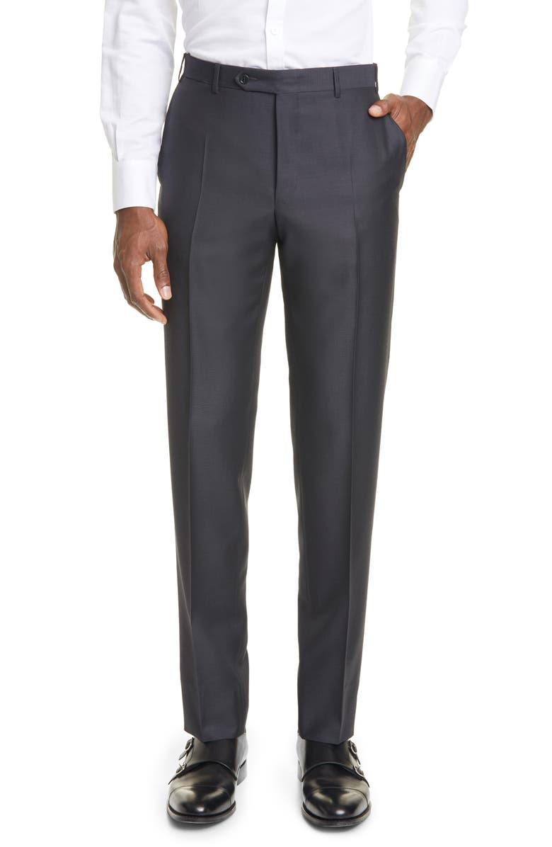 CANALI Classic Fit Wool & Mohair Pants, Main, color, CHARCOAL