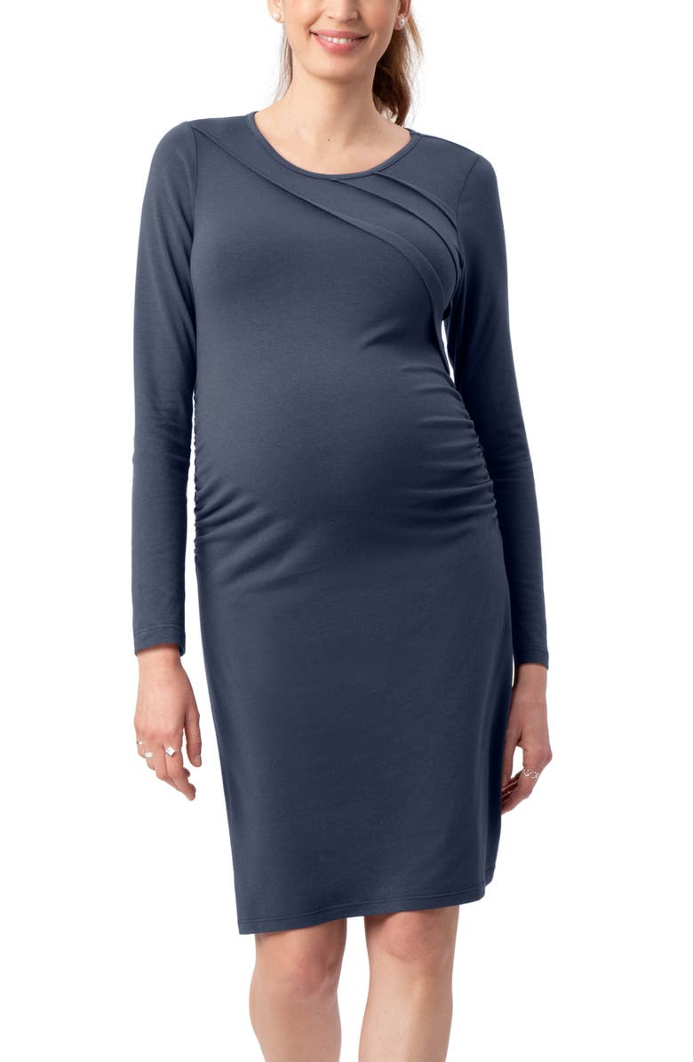 STOWAWAY COLLECTION Sunburst Long Sleeve Body-Con Maternity Dress, Main, color, BLUE STEEL