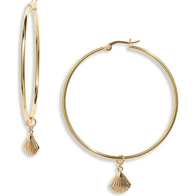 Sterling Forever Seashell Charm Hoop Earrings