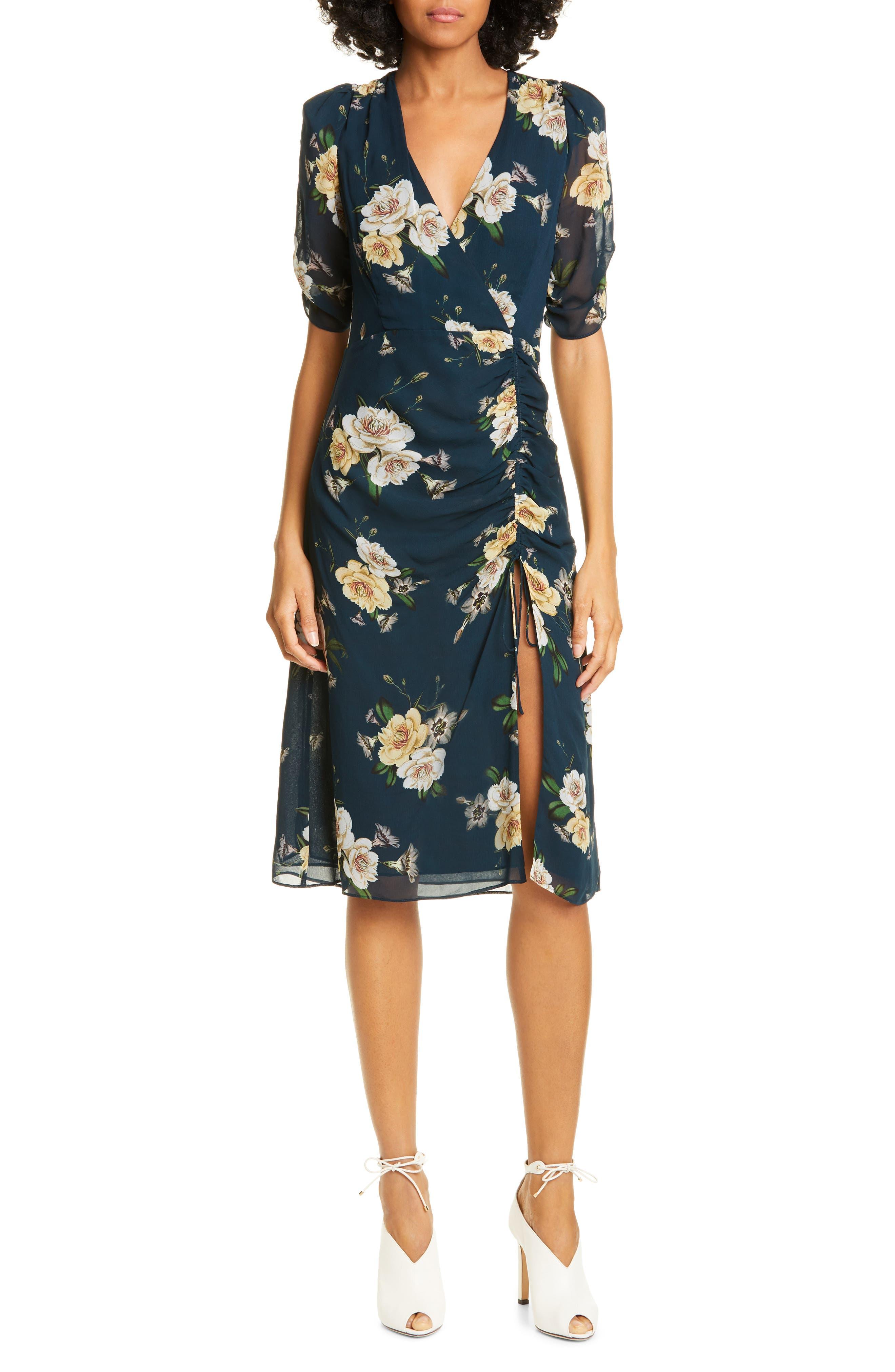 Nicholas Floral Print Silk Tea Dress, Blue